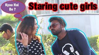 Staring at cute girls in India||prank on cute girls||Hilarious reactions||by Ravi||2019||AR jatav's