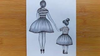 Mother's Day Drawing with Pencil sketch for beginners -Step by step