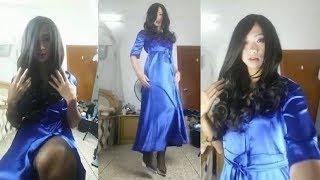 Crossdresser Photo Shoot Session | Makeup, Blue Dress & High Heels