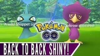 Back to Back Shiny Pokemon Caught! *SHINY SHUPPET & MURKROW!* 2018 Halloween Event Shiny Hunting