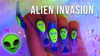 ALIEN INVASION NAILS | COOL 3D NAIL ART
