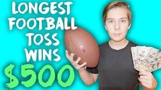 LONGEST FOOTBALL TOSS WINS $500 Challenge, Boys VS Girls (W/ Piper Rockelle, Sophie fergie, Ex.)
