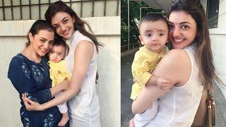 Kajal Agarwal with her Sister Nisha Agarwal son Ishaan ||
