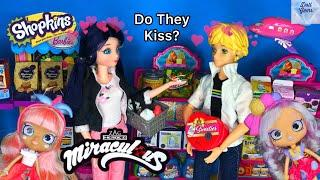 Adrien Kisses Marinette?! Shopkins Mini Packs Grocery Store Miraculous Ladybug Season 2 Doll Episode
