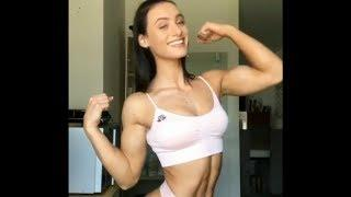 19 years old Fitness girl Guusje flexing her muscles