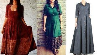 Simple Long Kurti Design Ideas || Cotton Long Kurti Designs For College || Long Kurti Frock Style