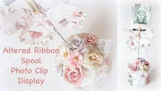 Altered Ribbon Spool  Photo clip Display with Lavender Frost Collection