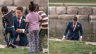 This Groom Leapt Into A River During The Wedding Photos, And His Bride Was Aghast When She Saw Why