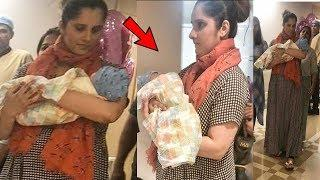 Sania Mirza leaving the hospital with her Cute baby boy