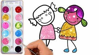 Glitter boy and girl Colors  | drawing a cute picture for kids