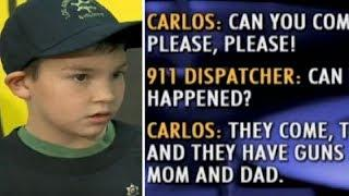 Terrified 7-yr-old boy hides in bathroom with sister. calls 911 and yells Bring cops... Lots of them