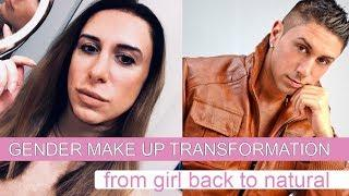 Gender Makeup Transformation - From Girl to Boy Cosplay with make up. From Beauty to Guy