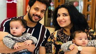 Actor Bharath cute twin boy baby photos with wife