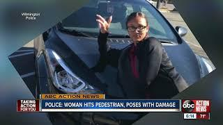 Police: Woman hits pedestrian with car, then posts picture posing with the damage
