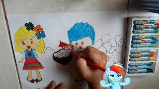 Drawing And Coloring Pictures Lovely Boy/ Coconut Juice / Little Girl/Beautiful Flower Cartoon