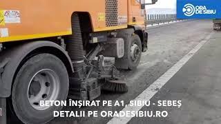 Beton înșirat pe autostrada Sibiu - Sebeș. Foto și info aici: