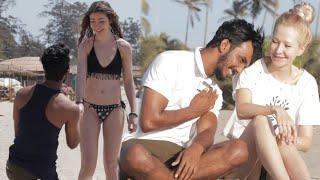 AJ kissing Prank In Goa | Kissing Prank on cute girl | Kissing AJ oye it's prank | Prank In {BRbhai}