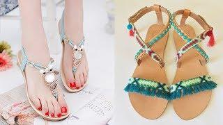 Unique Stylish Flat Sandal Design Images / Photos Collection | New Sandal Design For Girls