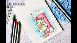 Božična voščilnica in barvanje z akvarelnimi barvicami