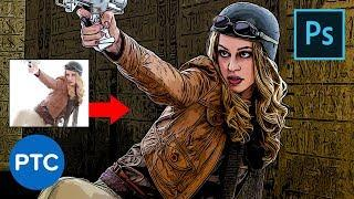 Smart Way to Quickly Make COMIC BOOK DRAWINGS From Your Photos! Photoshop Tutorial