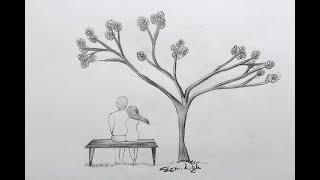 How To Draw Boy And Girl In Nature   Pencil Sketch