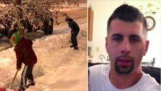Two Boys Shovel Snow On The Driveway Then Dad Spots The Man Behind Them