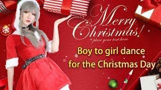 Merry Christmas:Boy to girl dance for the Christmas Day.