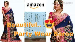 Amazon heavy Embroidered Party wear design saree unboxing,review|latest sarees 2019|blue saree