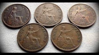 Coin collection | United Kingdom | 1/2 Penny coins from 1926 to 1930 in Series